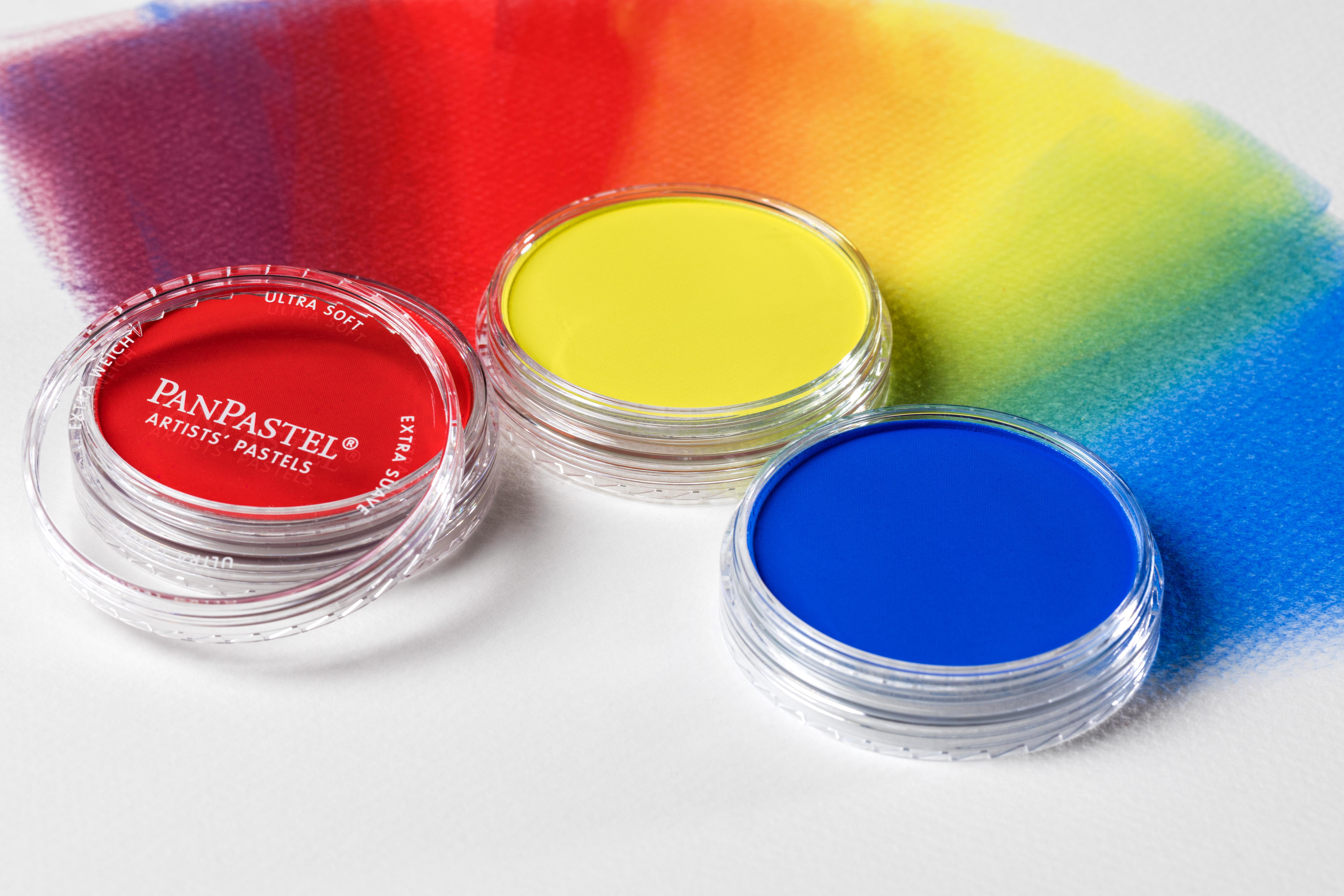 Images of blended Pan Pastels in Red, yellow and blue. Pan Pastels - how to pastel without all that annoying dust.