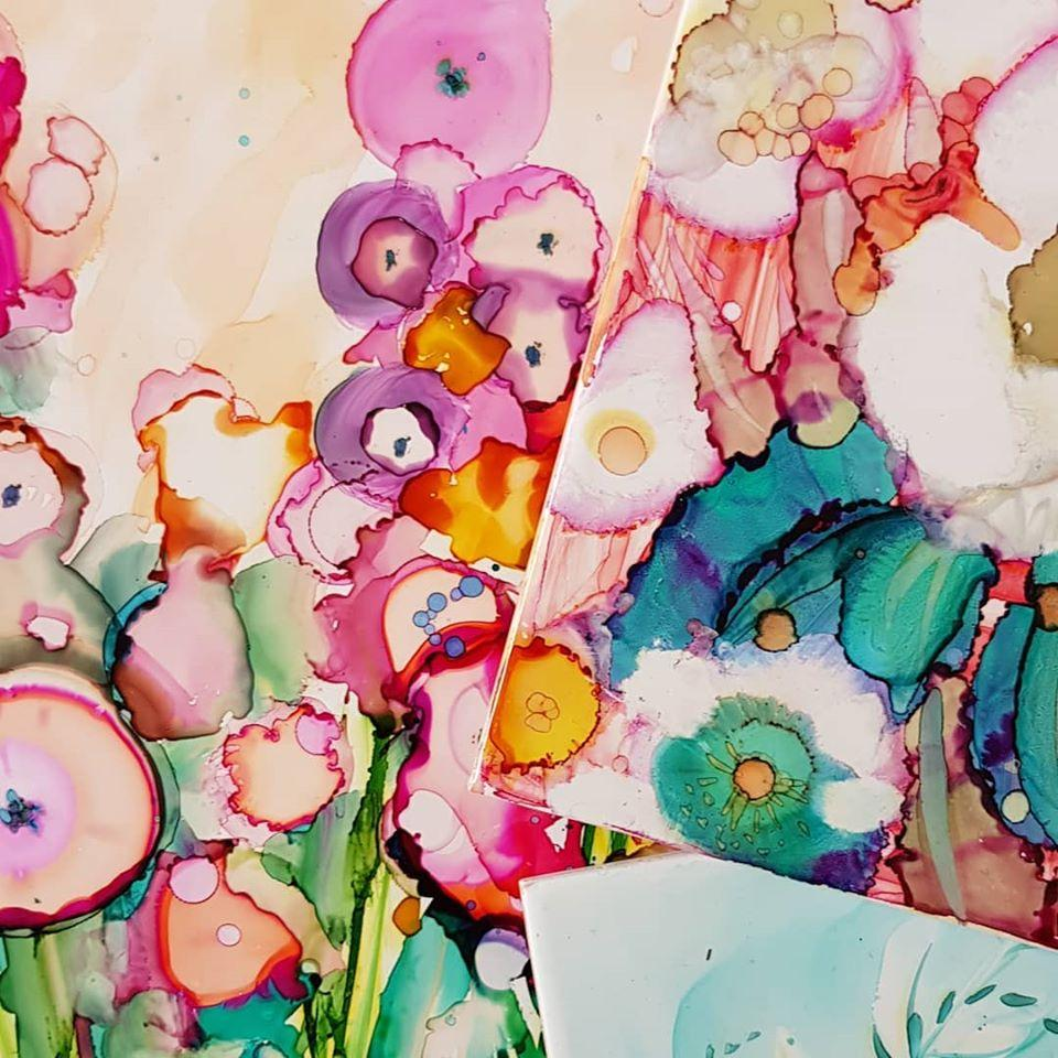 Alcohol Ink on Ceramic Time (Rebecca Yoxall)