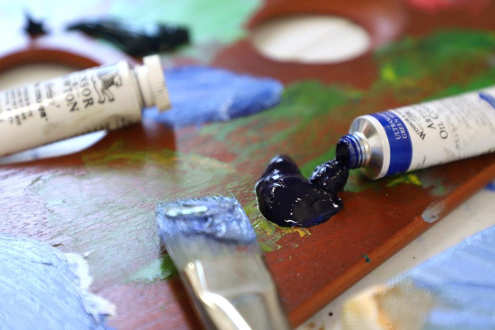 Winsor and Newton Oil Paint on palette